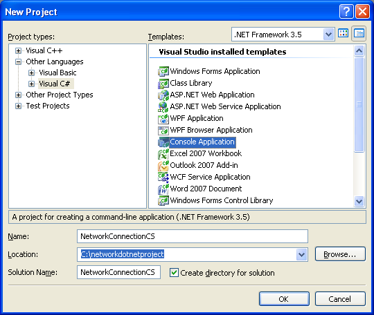 Collecting and Displaying the Network Info C# Program Example: creating new C# console application project