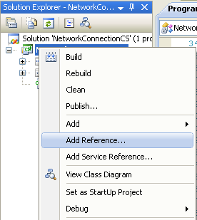 Collecting and Displaying the Network Info C# Program Example: invoking the Add Reference page
