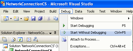 Collecting and Displaying the Network Info C# Program Example: running the project without debugging