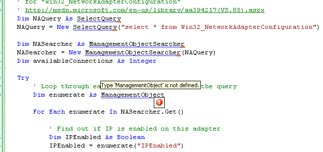 Collecting and Displaying the Network Info VB .NET Program Example: the unresolved types from the System.Management