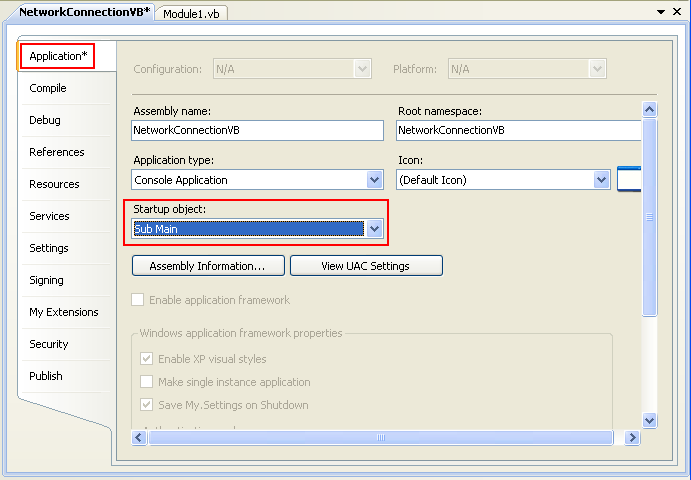 Collecting and Displaying the Network Info VB .NET Program Example: changing the Startup object: to Sub Main