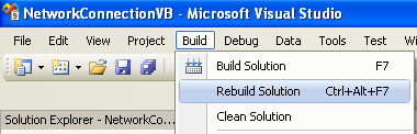 Collecting and Displaying the Network Info VB .NET Program Example: re-building the project