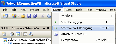 Collecting and Displaying the Network Info VB .NET Program Example: running the project without debugging
