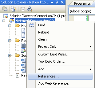 Collecting and Displaying the Network Info C++ Program Example: invoking the C++ References page