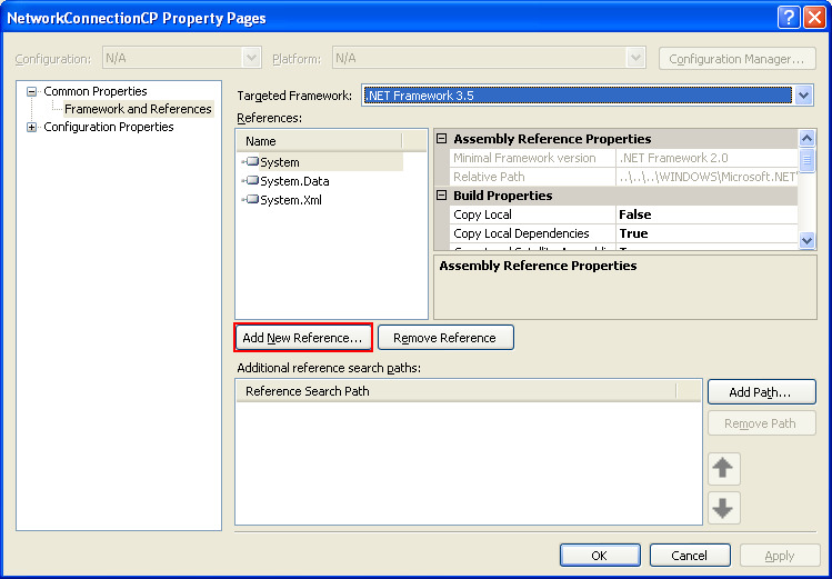 Collecting and Displaying the Network Info C++ Program Example: Adding the .NET references to the current project