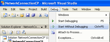 Collecting and Displaying the Network Info C++ Program Example: running the project without debugging