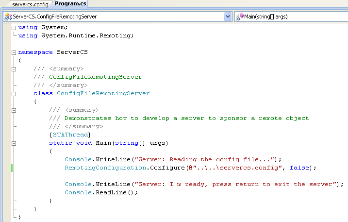 Creating the C# Server Console Application the source code