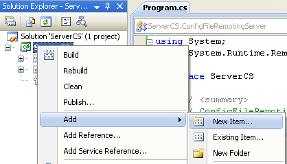 Creating the C# Server Console Application adding new item