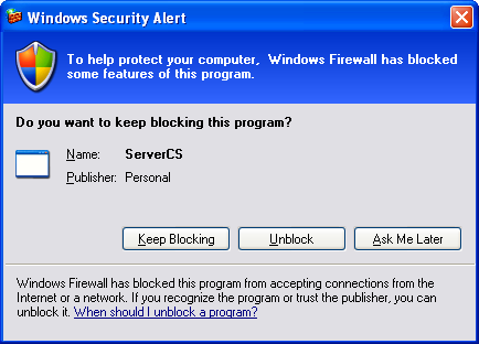 Creating the C# Server Console Application: unblocking the Windows firewall