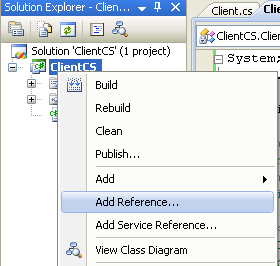 Creating the C# Remoting Client Program: adding a reference