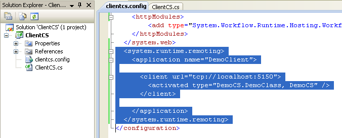 Creating the C# Remoting Client Program: the web.config code