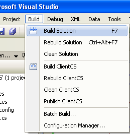 Creating the C# Remoting Client Program: building the solution
