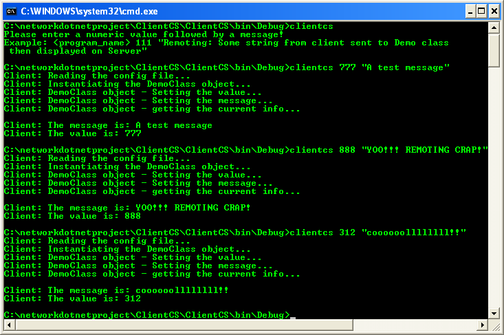 Testing the Whole .NET Remoting C# Program Sample: running the client program from command prompt