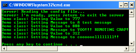 Testing the Whole .NET Remoting C# Program Sample: the server console output screen when communication was completed