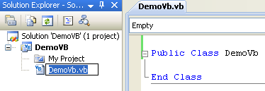 Creating the VB .NET Demo Class Library (DLL): renaming the source file