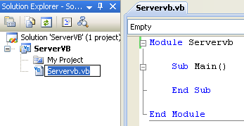 Creating the Server VB .NET Console Application: renaming the source file
