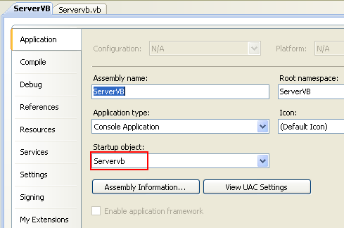 Creating the Server VB .NET Console Application: changing the Startup object to Sub Main