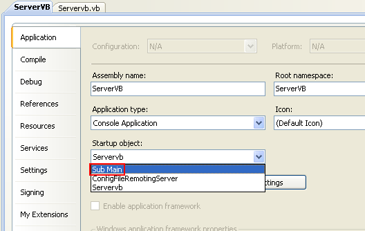 Creating the Server VB .NET Console Application: the standard startup object is Sub Main
