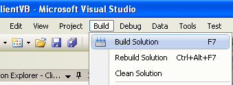 Creating the VB .NET Remoting Client Program: building the project