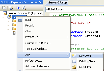 Creating the C++ Remoting Server Console Application: invoking the Add New Item page
