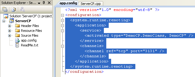 Creating the C++ Remoting Server Console Application: the C++ app.config content