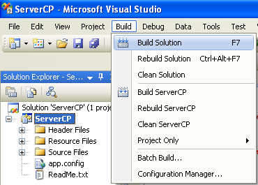 Creating the C++ Remoting Server Console Application: building the remoting server project