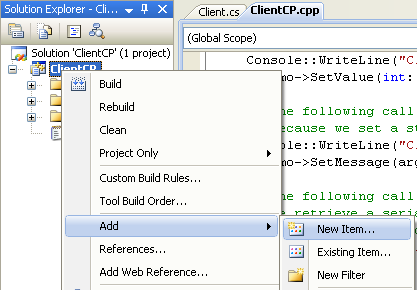 Creating the C++ Remoting Client Program: invoking the Add New Item page