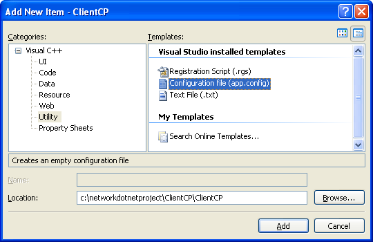 Creating the C++ Remoting Client Program: adding the C++ application configuration file, app.config