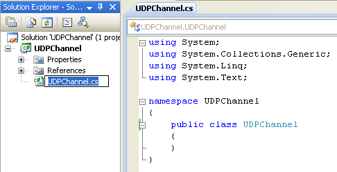 Creating the C# UDP Remoting Channel Class Library: renaming the C# source file