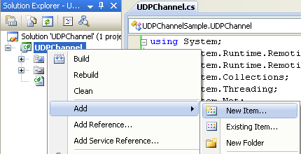 Creating the C# UDP Remoting Channel Class Library: invoking the Add New Item page