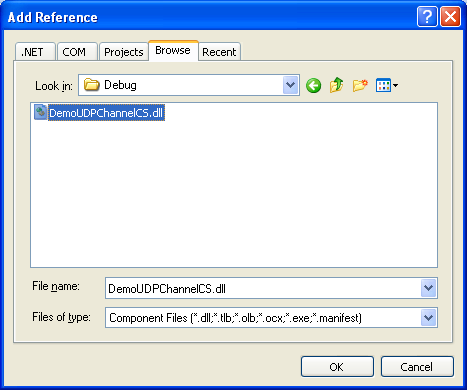 Creating the C# Remoting Server Program: selecting the second reference DLL file