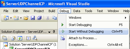 Creating the C# Remoting Server Program: running the remoting server project without debugging