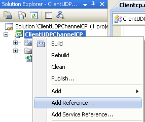 Creating the C# Remoting Client Program: invoking the Add Reference page