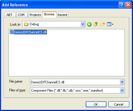 Creating the C# Remoting Client Program: selecting and adding the second reference DLL