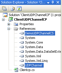 Creating the C# Remoting Client Program: both references as seen in the Visual Studio Solution Explorer