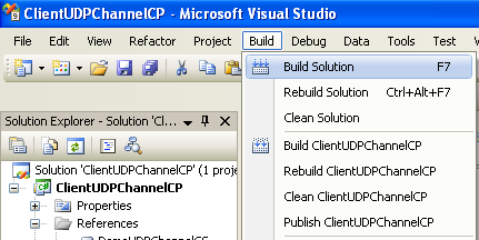 Creating the C# Remoting Client Program: building the remoting client project