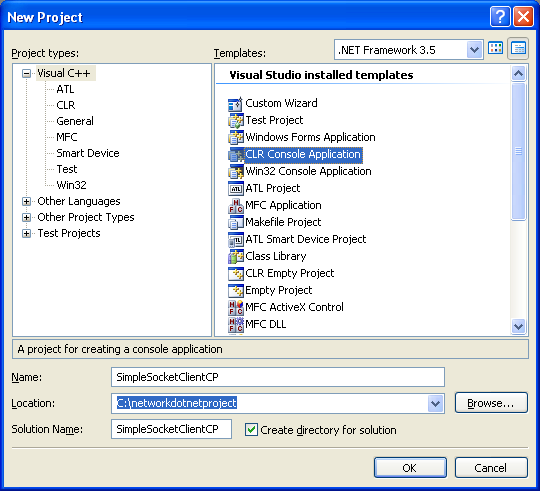 C++ Simple Client Socket Program Example - a new CLR console application project creation in VS 2008