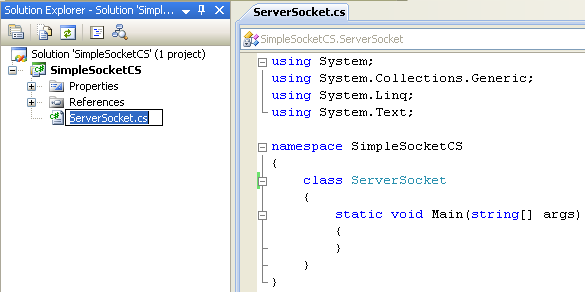 C# Simple Server Socket Program Example - renaming the source file automatically renaming the class name