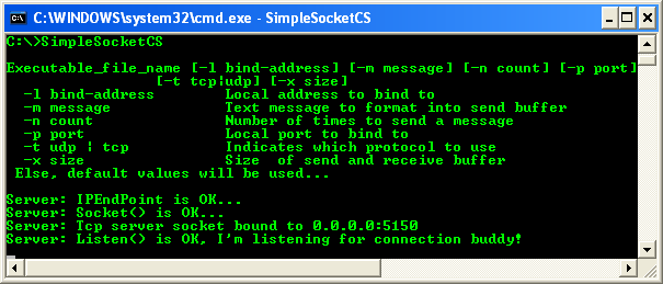 C# Simple Server Socket Program Example - a sample output when run from command line