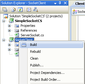 C# Simple Client Server Socket Program Example - building the client project independently
