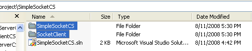 C# Simple Client Server Socket Program Example - the two project folders under a single solution