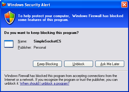 C# Simple Client Server Socket Program Example - the Windows Security Alert message box