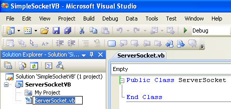 VB .NET Simple Server Socket Program Example - renaming the source file automatically renaming the class name