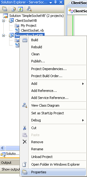 VB .NET Simple Server Socket Program Example - invoking the project's property page