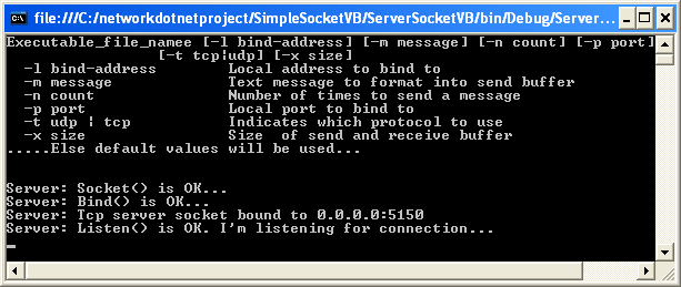 VB .NET Simple Client Server Socket Program Example - a sample output
