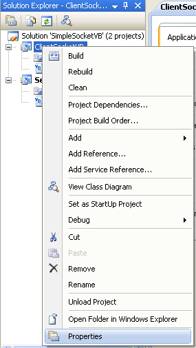 VB .NET Simple Client Server Socket Program Example - invoking the project's property page