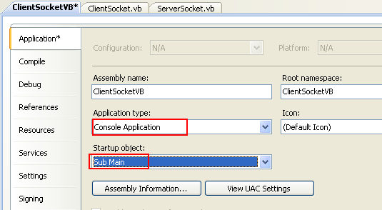 VB .NET Simple Client Server Socket Program Example - Changing the Application type: to Console Application and the Startup object: to Sub Main()