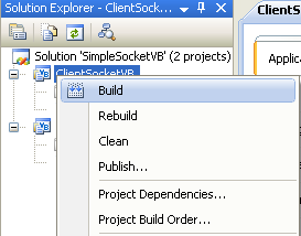 VB .NET Simple Client Server Socket Program Example - building the client project independently