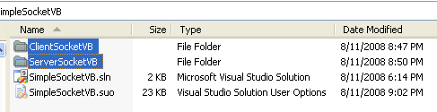 VB .NET Simple Client Server Socket Program Example - the client and server project folders