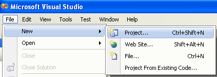 Creating Protocols Header Definition Class (C#) - invoking the New Project page through a menu